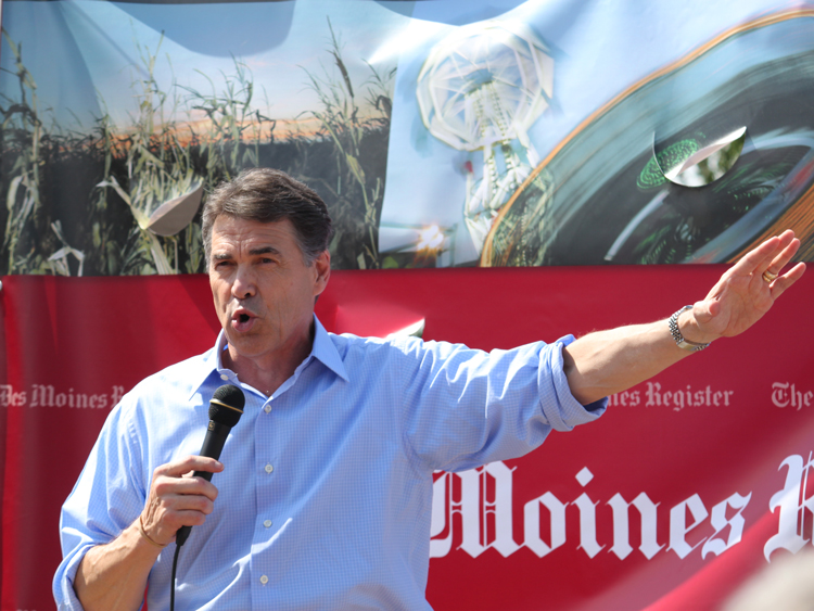 Rick Perry on the stump at the Iowa State Fair in 2011.