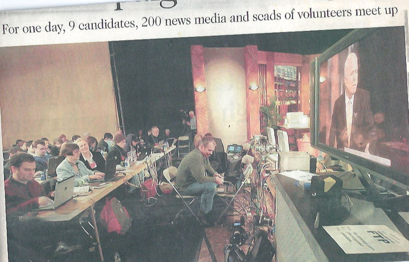 I attented a republican debate in Iowa, thats me in the Des Moines Register, 3rd from left on front table.