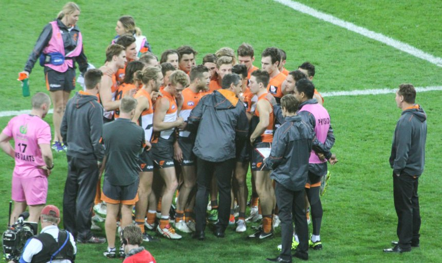 Leon Cameron urging his players to remain positive at 3/4 time