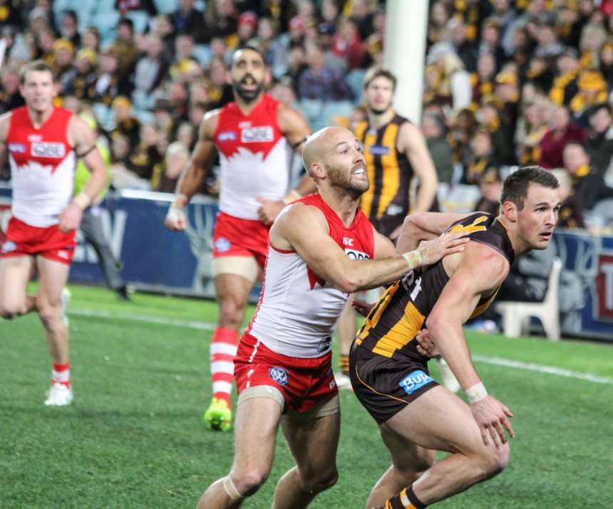 Jarrad McVeigh worked hard all night but couldn't work through the tough Hawk defense