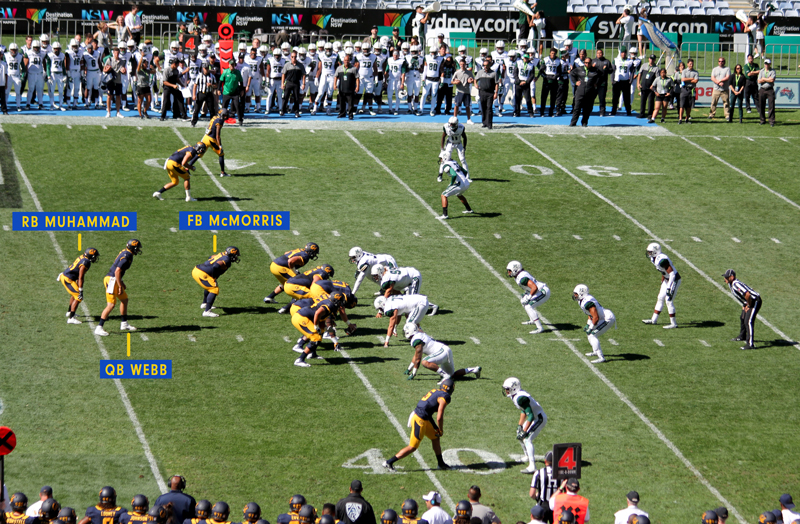 This pistol formation would be an effective tactic for the Cal Bears in the first scoring drive. Photo & Graphics : Jodie Newell