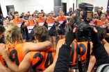The GWS boys sing the club song. Photo: Jodie Newell