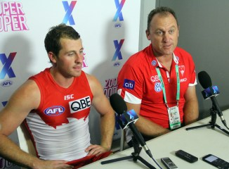Sydney Swans coach John Longmire & Harry Cunningham chat to the media post-game. Photo: Jodie Newell