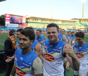 Suns skipper all smiles after the shock win over Sydney. Photo: Jodie Newell