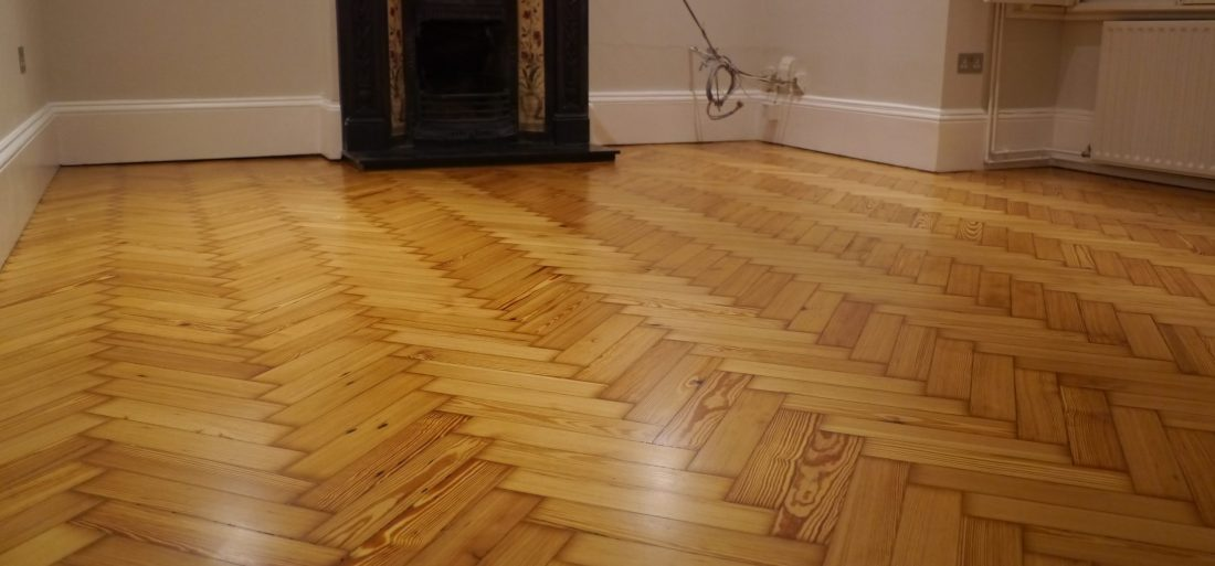 pitch pine parquet restored Wimbledon