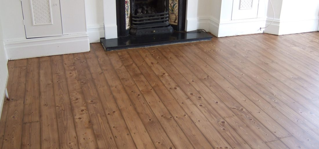Hackney pine floor sanded, stained and finished