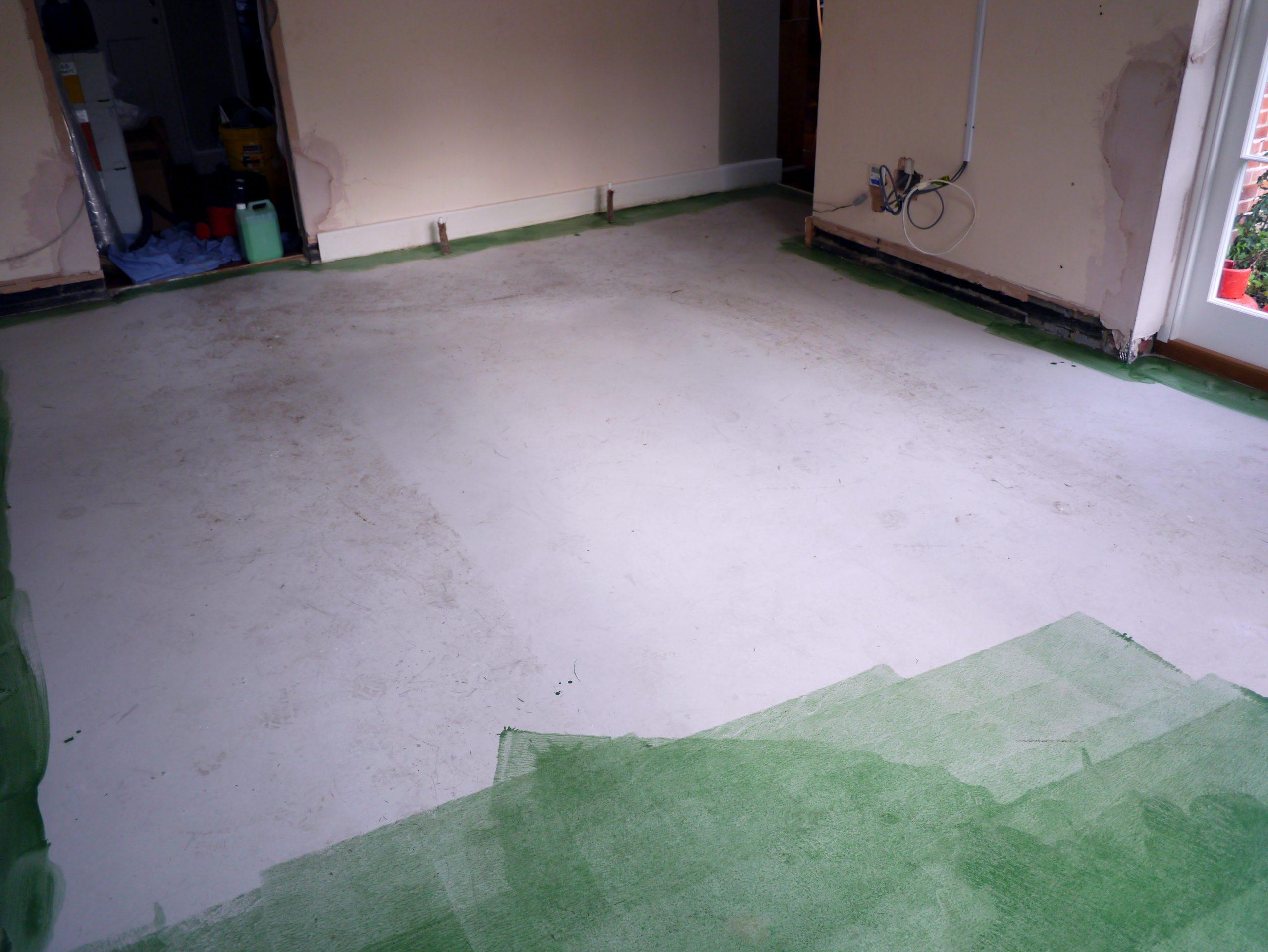 Liquid DPM applied to concrete sub floor