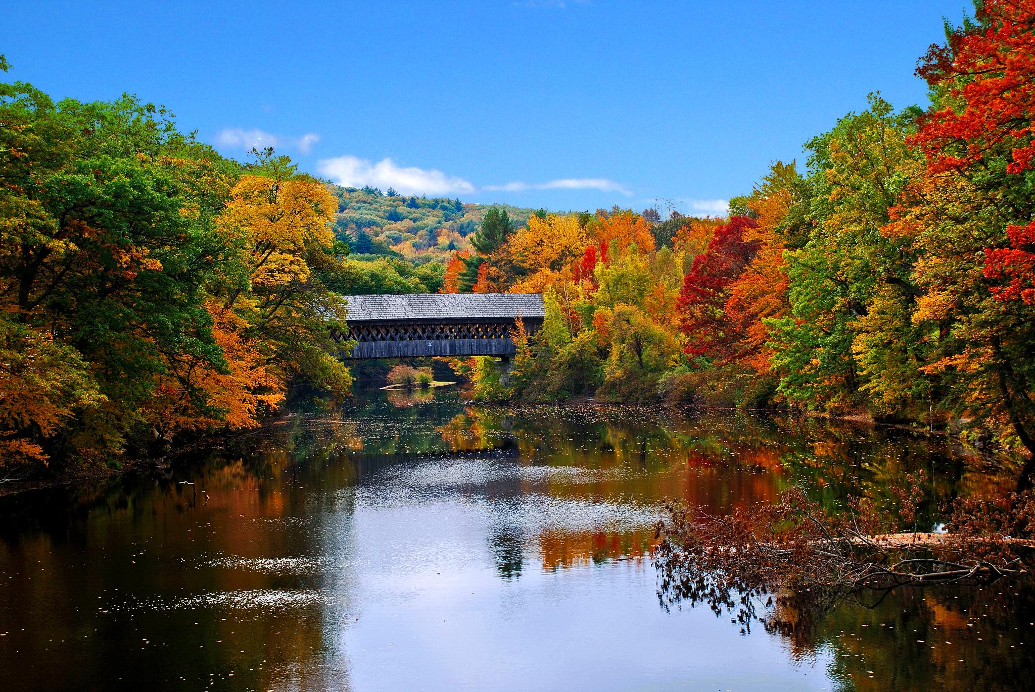 New England Fall Computer Wallpaper Bridge Over The Contoocook In Henniker Nh New England Today