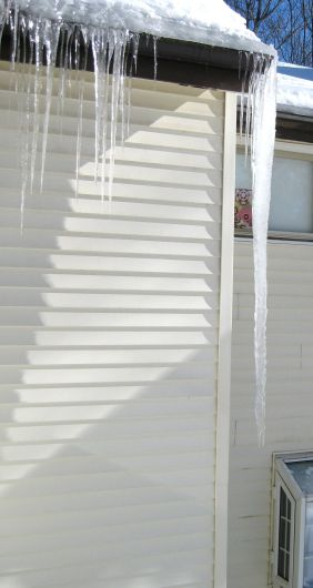 """66"""" Icicle outside family room."""