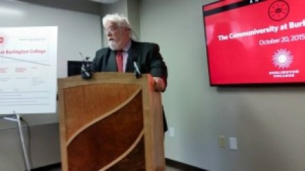 "Stephen York speaks at the ""Communiversity"" conference at Burlington College, October 20, 2015"