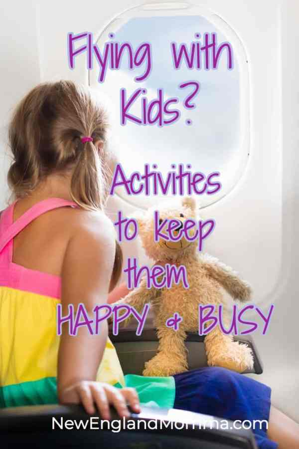 Flying with kids? Here are activities to keep them happy & busy on an airplane. #travelingwithkids #flyingwithkids