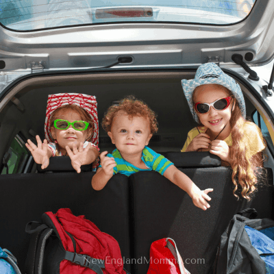 3 cute kids looking out the back seat of a car