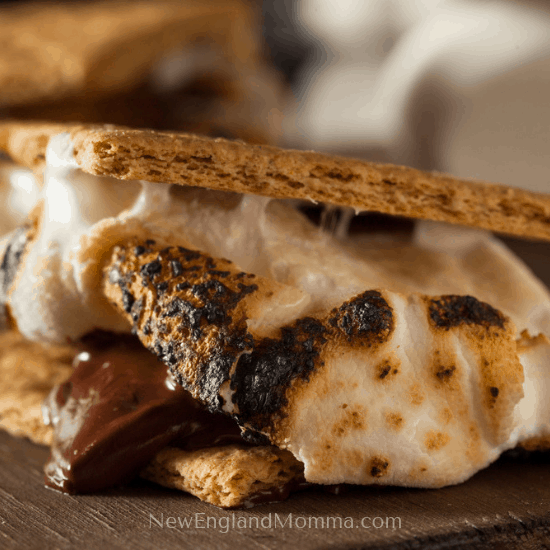 a traditional s'mores 2 graham crackers, toasted marshmallow and a chocolate bar smooshed together