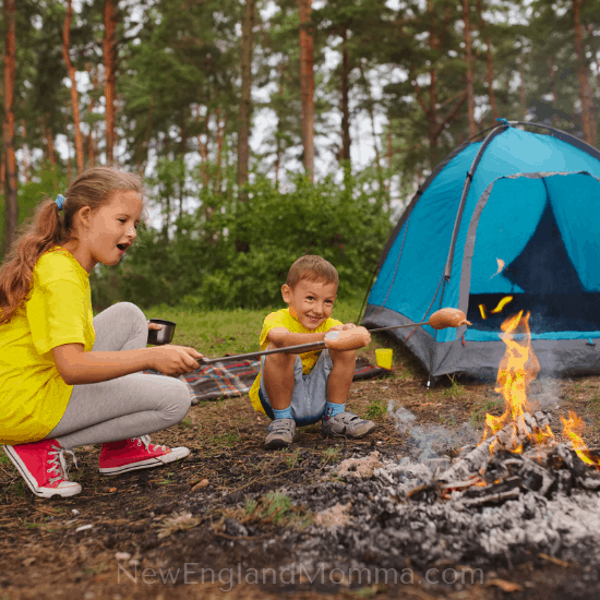 2 kids at a campfire having a campfire treat