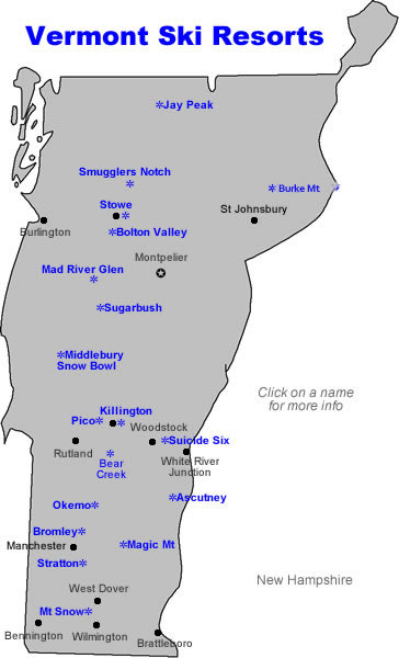 Vermont Ski Resort Map : vermont, resort, Vermont