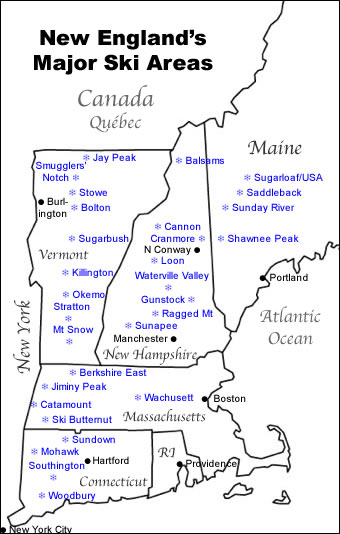 Vermont Ski Resort Map : vermont, resort, Major, England, Resorts