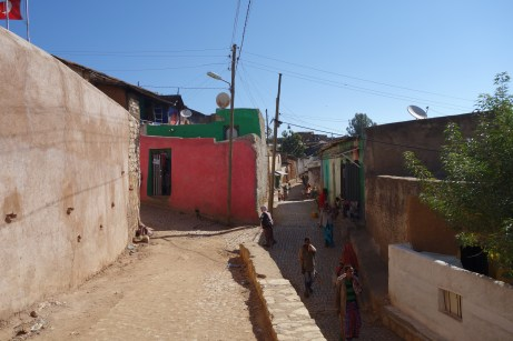 The terrain in Harar is fairly steep.