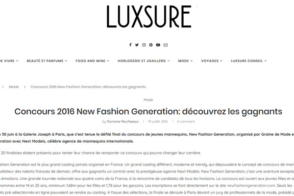 concours New Fashion Generation