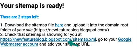 your sitemap is ready. you can see your blogger sitemap url look like this