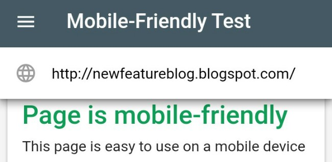 google mobile friendly test tool for blogger or website