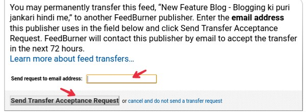 write email on which you transfer feed
