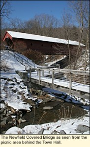 The Newfield Covered Bridge as seen from the picnic area behind the Town Hall in Newfield, New York USA.