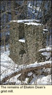 The remains of Eliakim Dean's grist mill on Mill St. in Newfield, New York USA.
