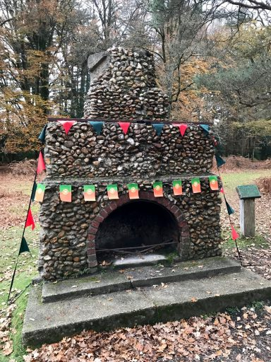 Portuguese fireplace, New Forest decorated with Portuguese flags