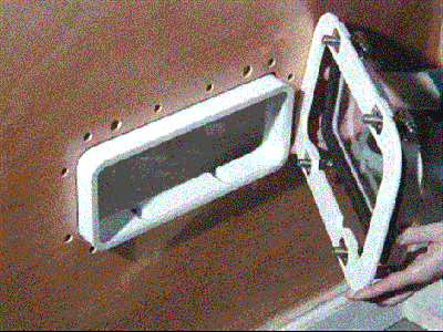 image of step 4 counter bore relief holes for Tri-Matrix portlight installation