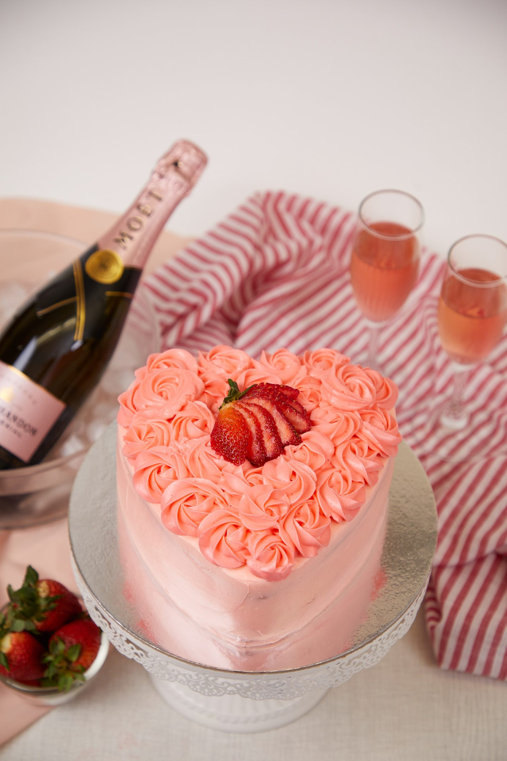 Luscious Pink Rose Layer Cake
