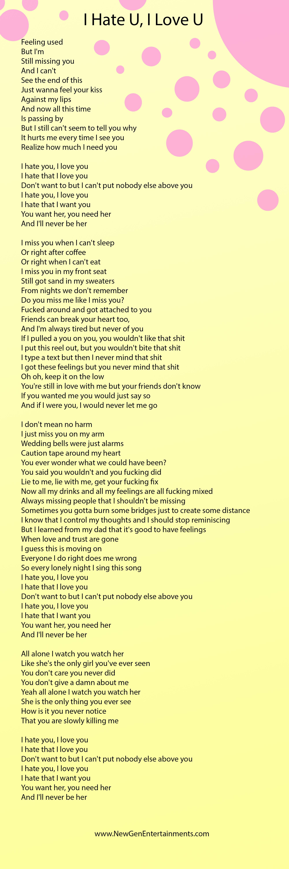 I Hate You I Love You Lirik : lirik, Galaktika, Turtas, Gnash, Lyrics, Florencepoetssociety.org