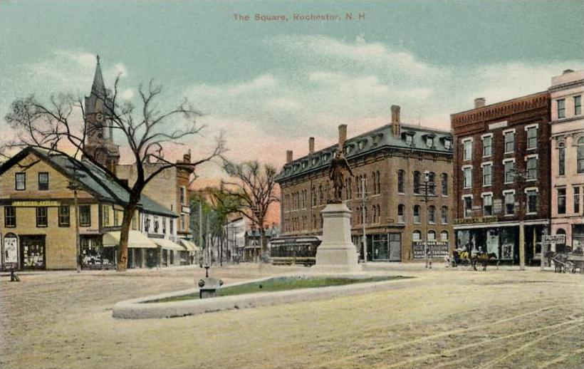 The Square in Rochester New Hampshire showing the statue of Parsons Main