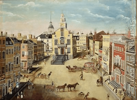 Figure 22. Painting of Boston's Old State House from 1801 by James Brown Martson (1st-Art-Gallery.com)