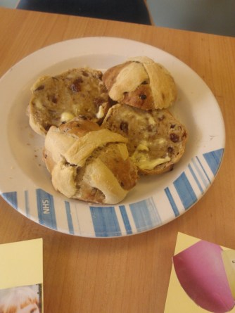 Hot cross buns baked by patients.