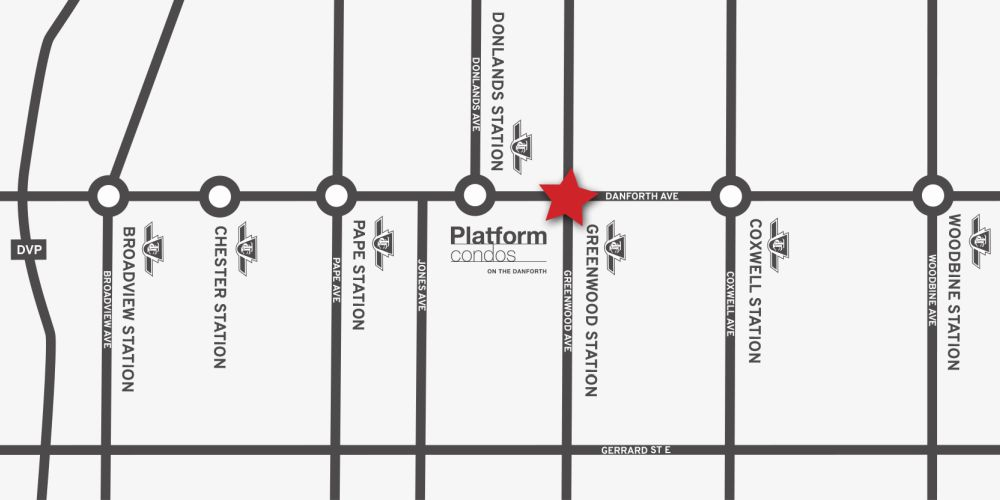 Platform Condos on the Danforth - map