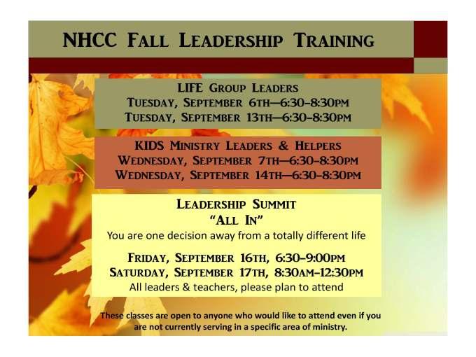 Fall Leadership Training 2016