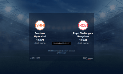 Sunrisers Hyderabad vs Royal Challengers Bangalore live score over Match 6 T20 16 20 updates | Cricket News
