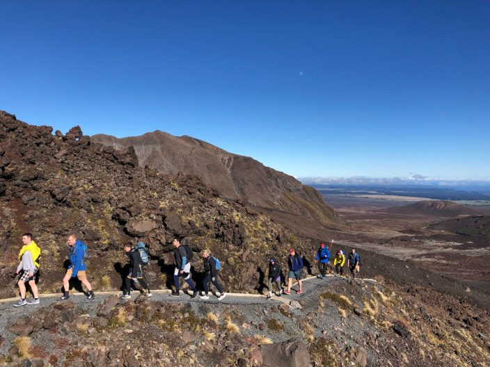 long line of hikers on Tongariro Crossing