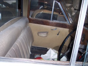 Inside the Austin Vandenplas Princess Limousine before its restoration