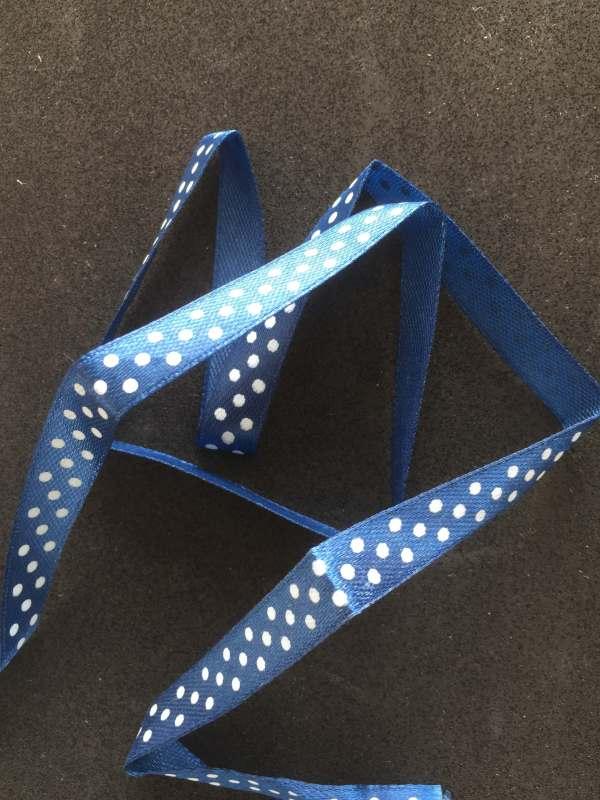 ruban satin bleu marine petit pois blanc 10 mm