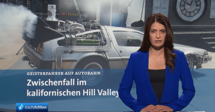 """Zwischenfall im kalifornischen Hill Valley: Auf der Autobahn sei ein Geisterfahrer wie aus dem Nichts aufgetaucht, heißt es in der """"Tagesschau"""" (Screenshot)"""