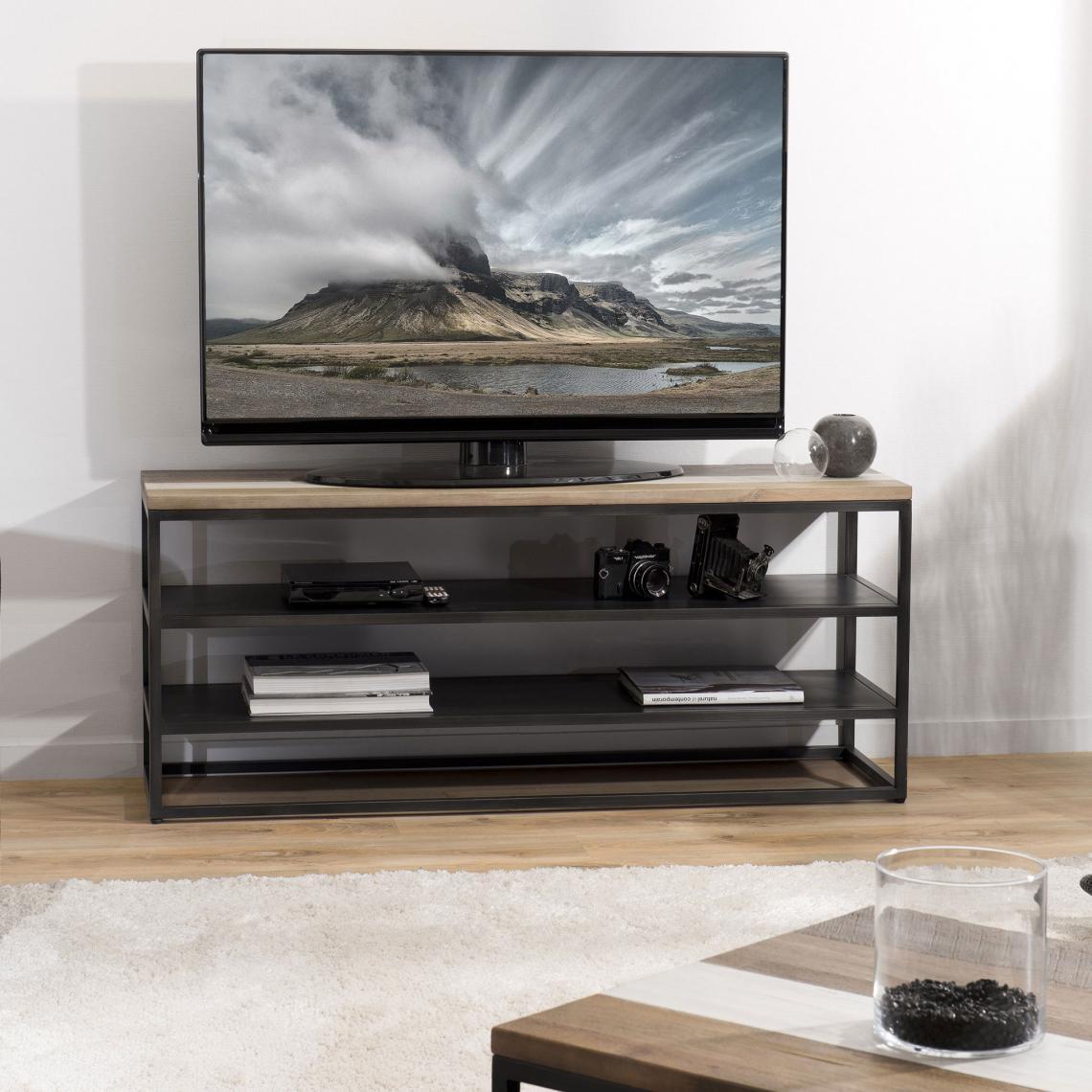 meuble tv avec 2 etageres style industriel multicouleurs vieillies