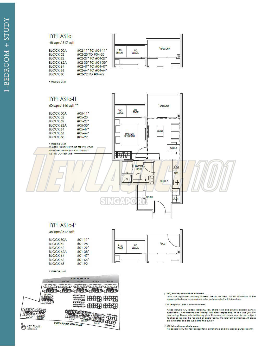 hight resolution of kent ridge hill residences floor plan 1 bedroom study type as1a