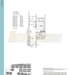 kent ridge hill residences floor plan 1 bedroom type a2 p [ 1036 x 1339 Pixel ]