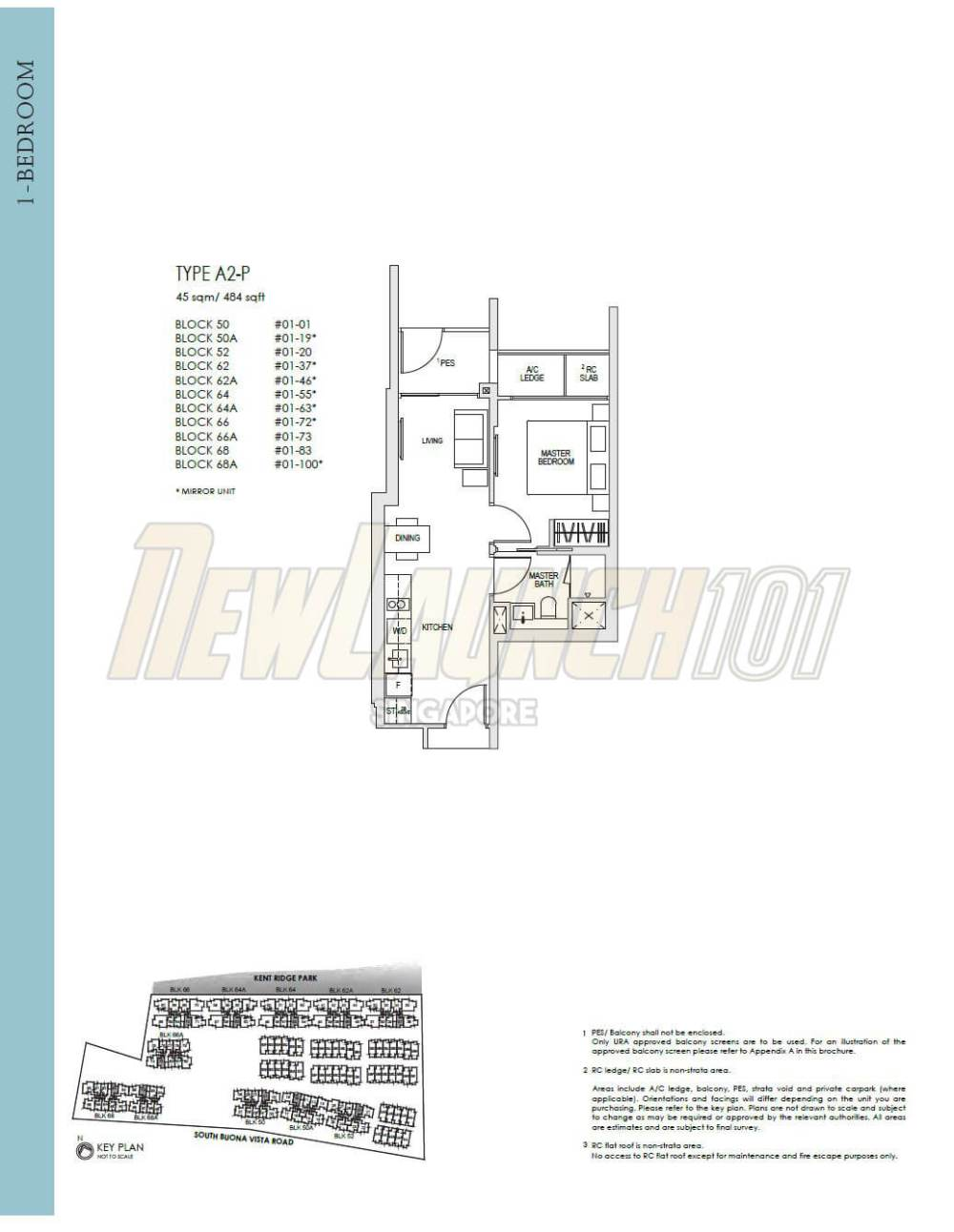 medium resolution of kent ridge hill residences floor plan 1 bedroom type a2 p