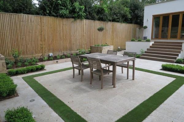 small contemporary paved garden
