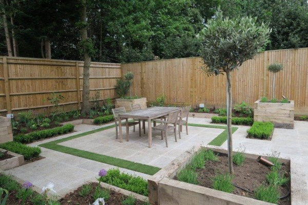 small contemporary paved garden