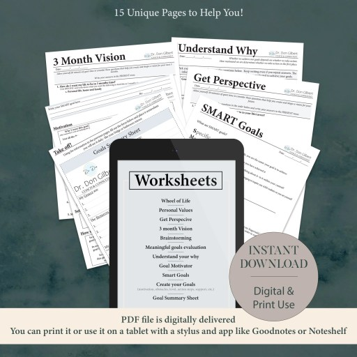 Goal setting workbook list of goal worksheets in the 15 page workbook