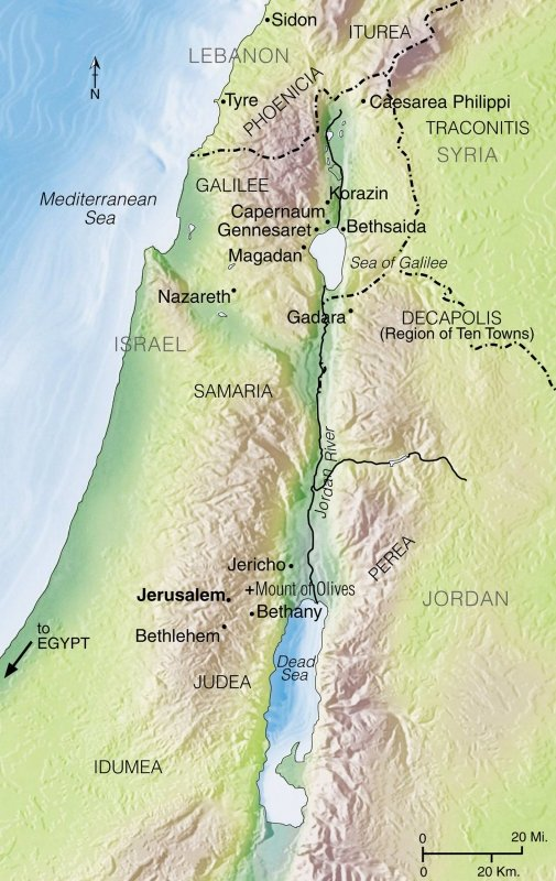 Map of Israel showing Bethany and Jerusalem