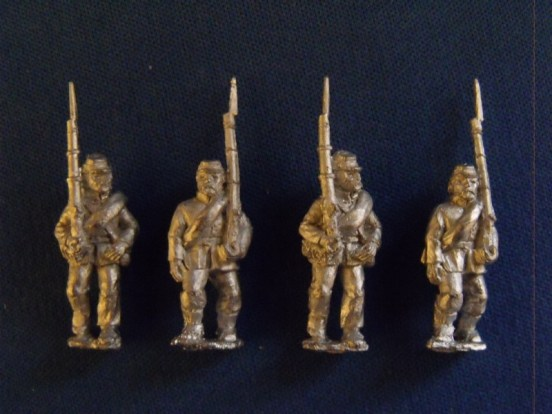 Infantry in Kepi, Sack Coat & Blanket Roll, Marching